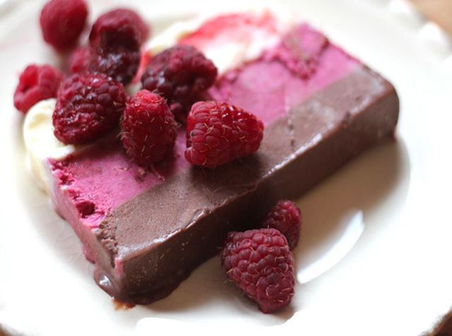 Chocolate, Coconut and Loganberry Ice Cream Terrine
