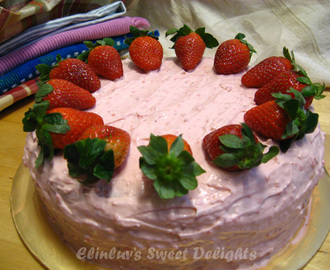 Moist Butter Cake With Strawberry Cream Cheese Frosting - Happy Birthday Claire And Happy Thanksgiving