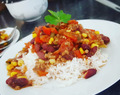 "Delicious ""chili con carne"" on dinner"