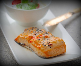 Baked sweet chilli and sesame salmon with Asian glass noodle salad
