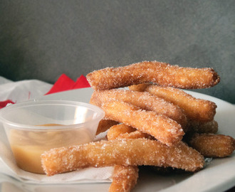 Mini Cinnamon Churros with Caramel Sauce