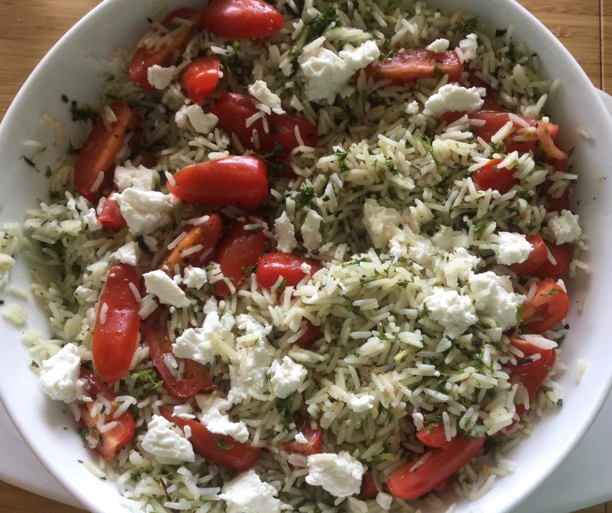 Herbed Rice, Cherry Tomato and Feta Salad - Add Meatballs - Dinner Sorted