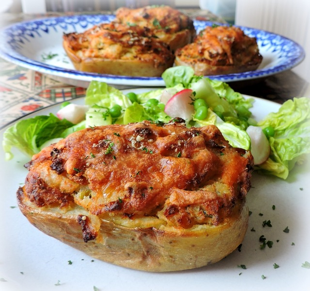 Salmon Pie Stuffed Baked Potatoes