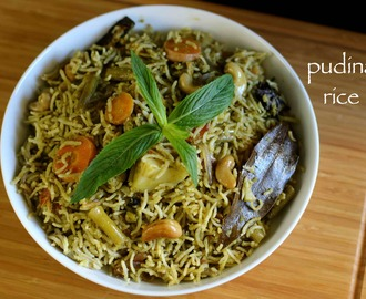 pudina rice recipe | mint rice recipe | mint pulao recipe