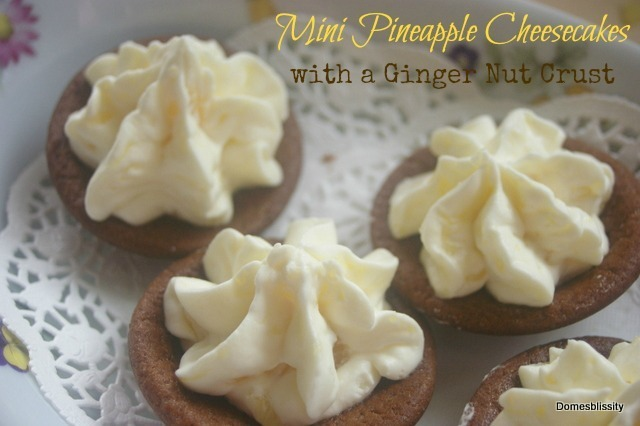 Mini Pineapple Cheesecakes with Ginger Nut Crust