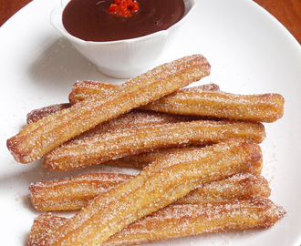Baked Churros with Chili Chocolate Sauce