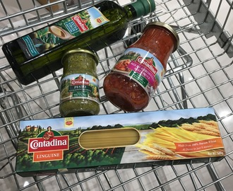 Cooking with Contadina: Pesto Pork & Chicken Roll Up with Linquini in Olive Oil