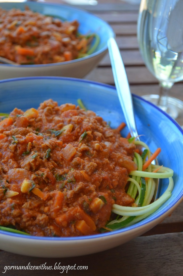Vegan Nutmeat Bolognese with Zucchini and Carrot Spaghetti (low carb)