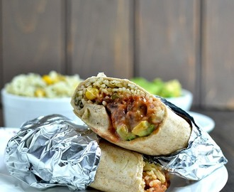 Vegetarian Rice & Beans Burrito with Queso Sauce