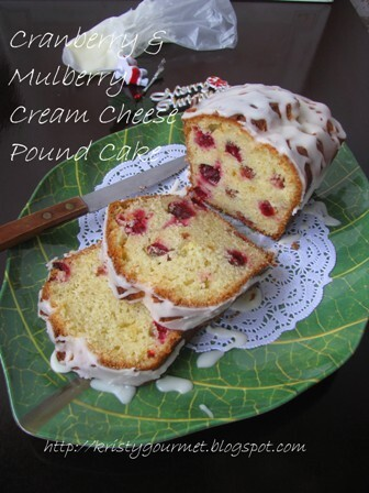 Cranberry & Mulberry Cream Cheese Pound Cake 小红莓桑莓奶油乳酪磅蛋糕