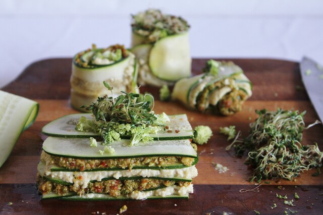 raw lasagna with cashew cheese and broccoli sun-dried tomato pesto