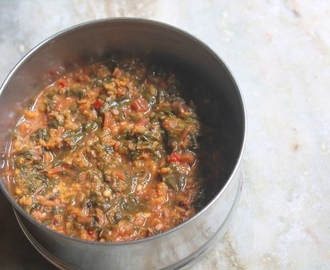 Keerai Kootu Recipe - Red Spinach Kootu Recipe - Red Amaranth Leaves Kootu Recipe