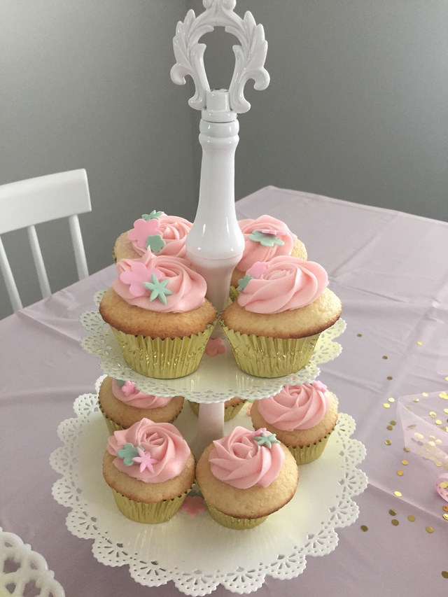 "1st Birthday Tiny Pink ""Naked"" Smash Cake and ""Naked"" Pink Flower Cupcakes"