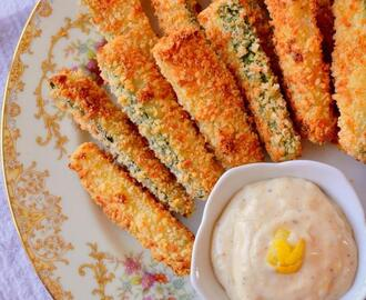 Baked Parmesan Zucchini Sticks with Lemon Garlic Aioli