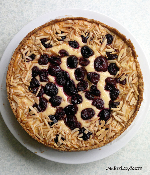 Baked Yoghurt Tart with Cherries and an Oatmeal Crust (Baking with Julia)