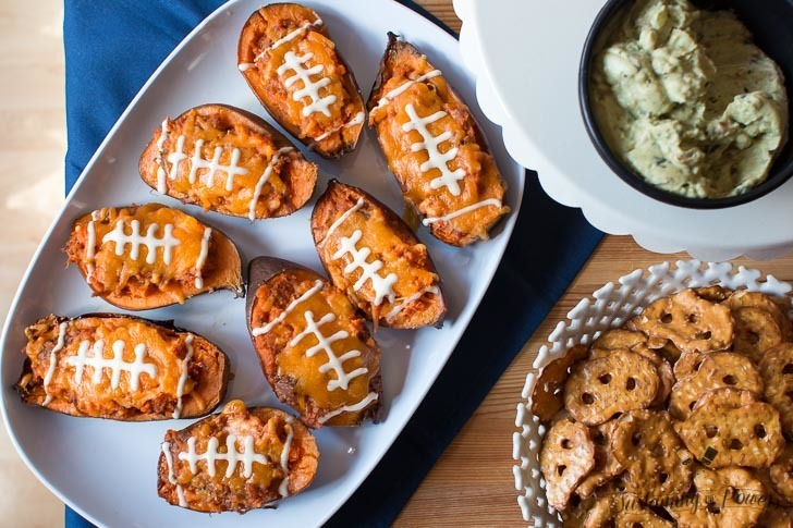 Sweet Potato Skins Stuffed with BBQ Ranch Pulled Pork