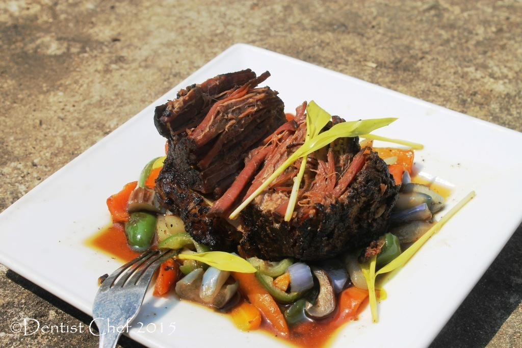 Recipe Beef Brisket Confit Poitrine de Beouf, Served with Sauteed Spring Vegetables, Gravy & Popcorn Shoots
