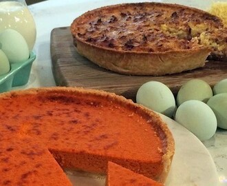 Phil's quiche Lorraine and red pepper and garlic quiche