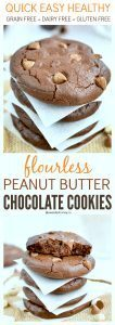 Flourless Double Chocolate Peanut Butter Cookies| Dairy free, Grain Free, Gluten free
