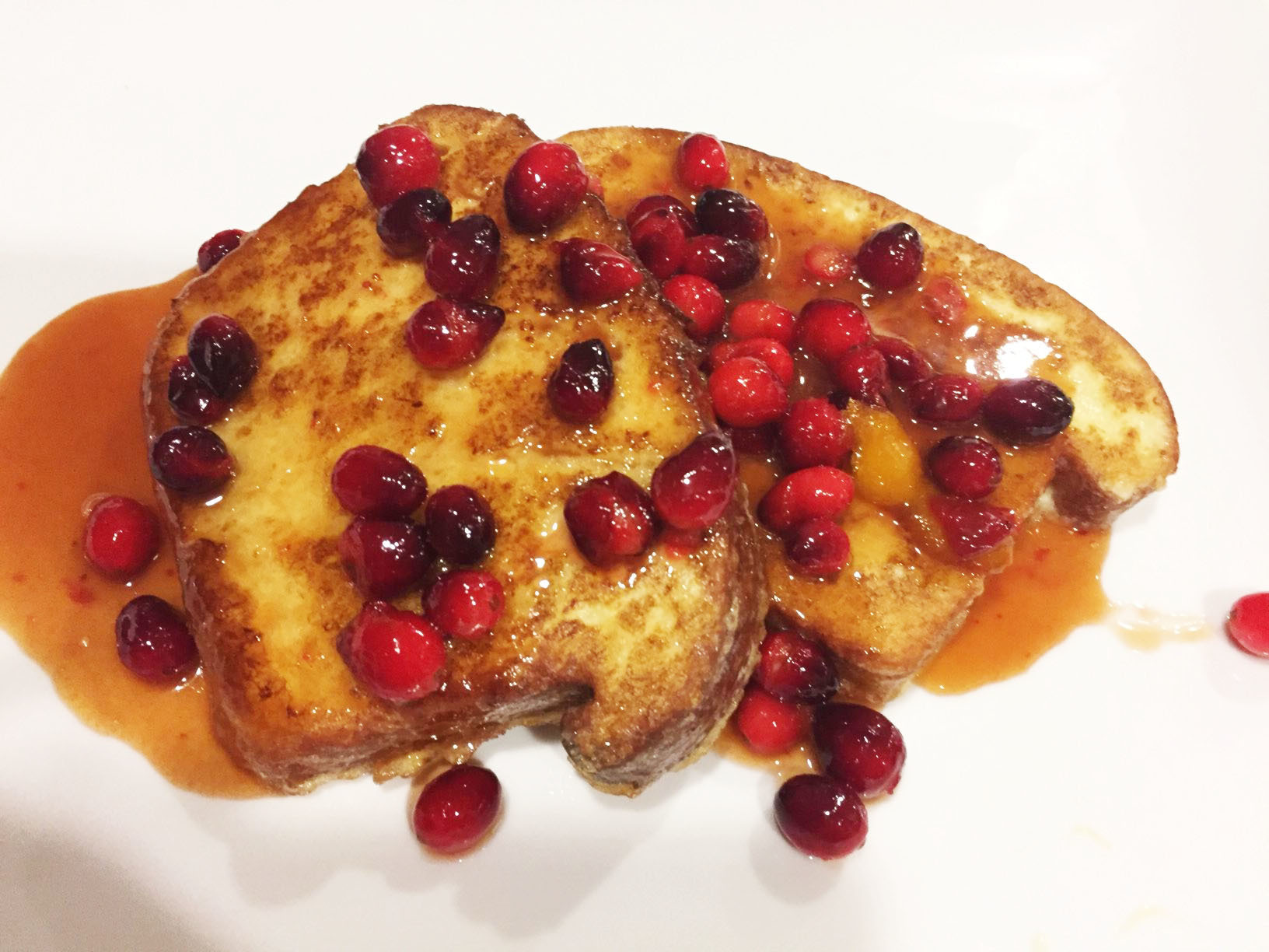 Brioche French Toast with Brown Sugar Cranberry Syrup