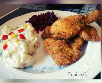 simple crumbed chicken with potato salad