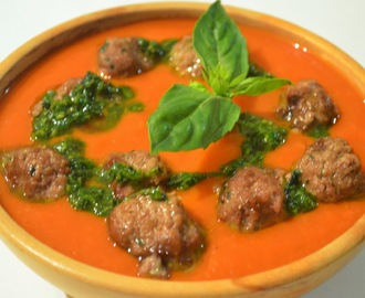 Tomato and capsicum soup with basil oil and mini lamb and basil meatballs
