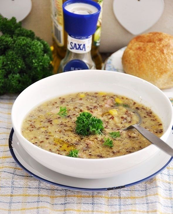 Smoked Chicken, Quinoa & Red Lentil Soup