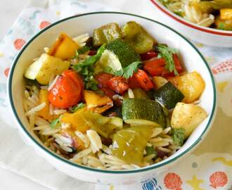 Roasted veggies and Orzo salad