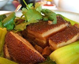 Oven roasted pork belly with Asian greens