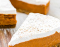 Vegan sweet potato pie with coconut cream