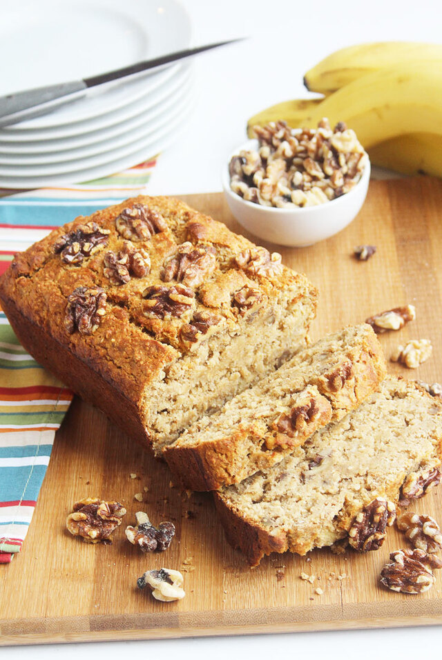 Gluten Free Banana Bread with Toasted Walnuts and Cinnamon