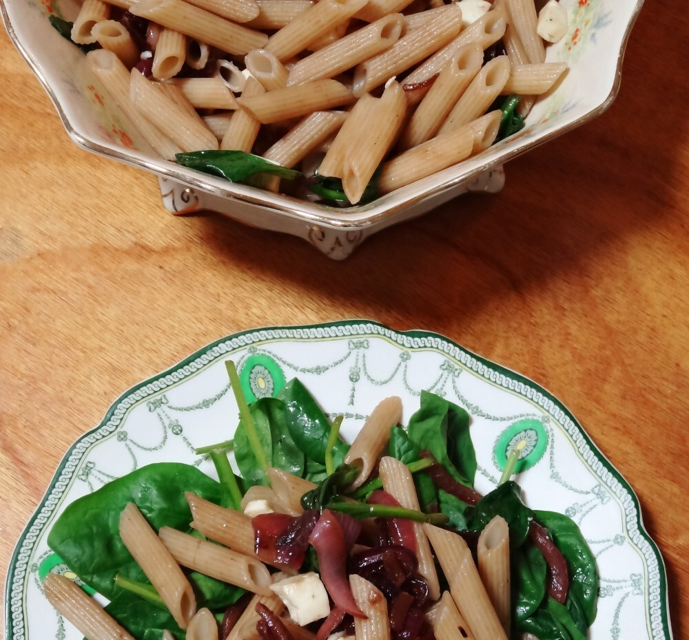Balsamic Onion, Feta, and Spinach Pasta Salad (gluten free)