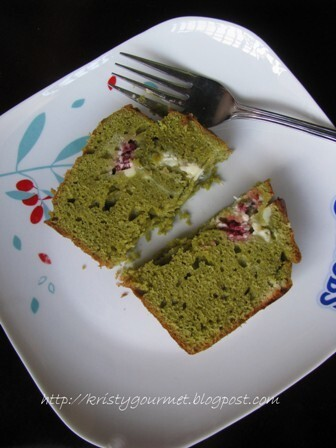 Matcha Pound Cake With Mulberry Cream Cheese Swirl 綠茶桑莓起司磅蛋糕