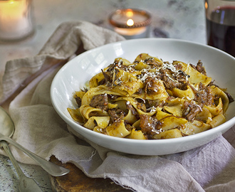 Slow Cooked Beef Ragu with Red Wine, Porcini Mushrooms and Bone Marrow