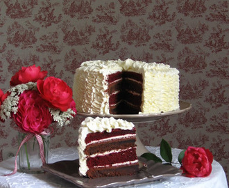 Red Velvet Ruffle Cake with red beets