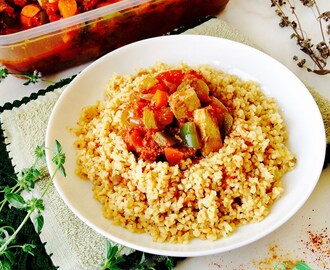Braised vegetables with Tofu and Bulgur with Miso
