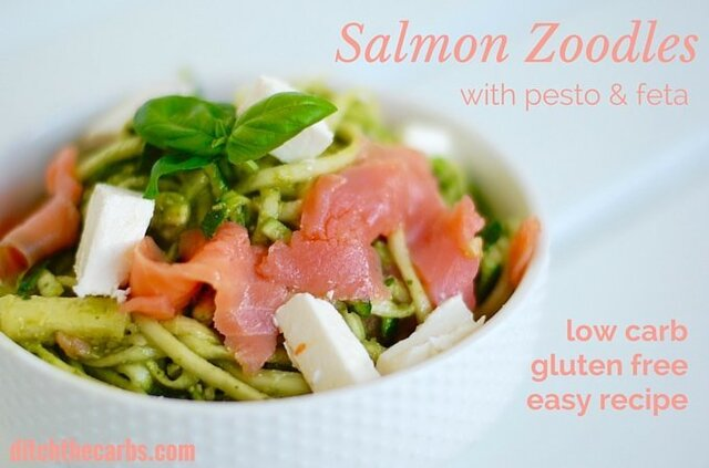 Salmon Zoodles With Kale Pesto And Feta