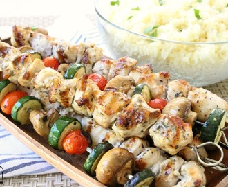 GREEK CHICKEN SOUVLAKI with LEMON RICE