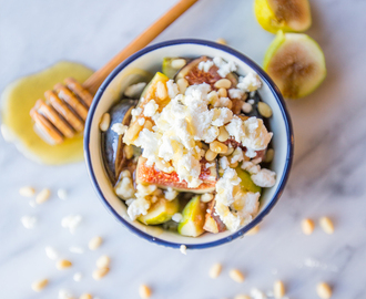 Fig and Honey Fruit Salad with Chèvre and Pine Nuts