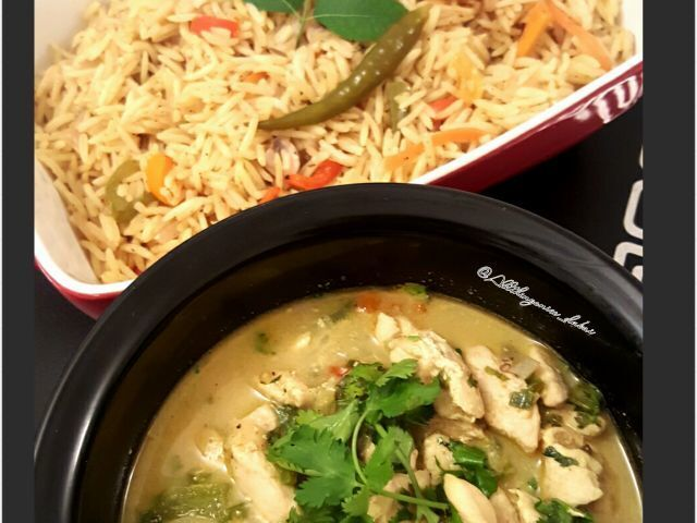 Thai green chicken curry and Spanish rice