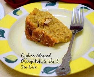 Eggless Almond Orange Wholewheat Tea Cake