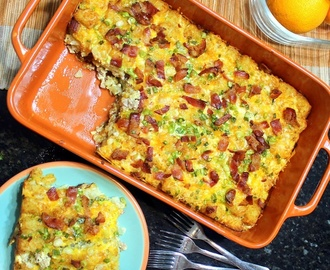 Best Damn Cheesy Tater Tot Bacon Breakfast Casserole EVER!!!  Freezable