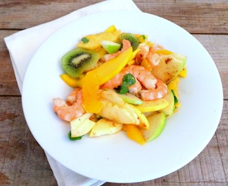 Salade de crevettes aux fruits d'hiver (Shrimps salad with winter fruit)