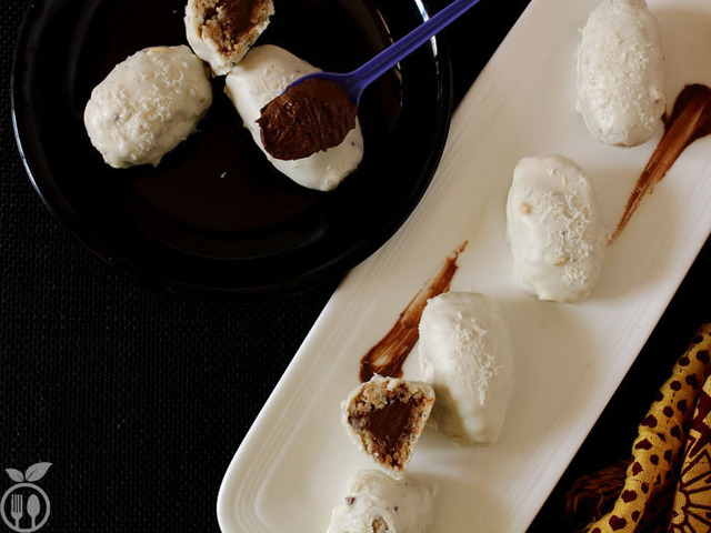 White Chocolate Truffles stuffed with Peanut & Coconut