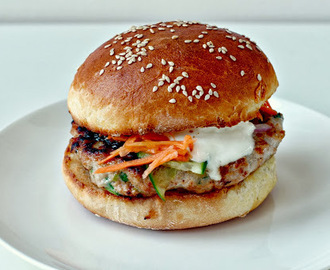 Spicy Chicken Burgers with Wasabi Yoghurt Sauce