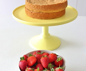Brown Sugar Sponge Cake with Berries and Whipped Cream | Gluten Free