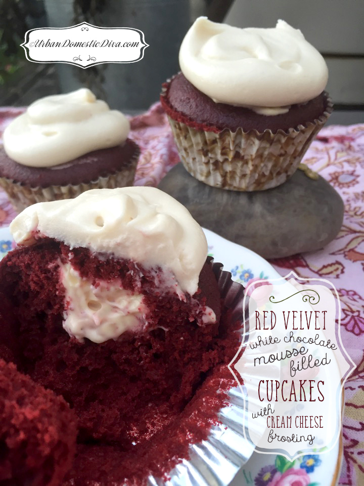RECIPE: Red Velvet Cupcakes with White Chocolate Mousse Filling and Cream Cheese Frosting