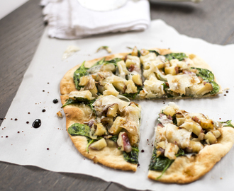 Spinach-potato breakfast pizza