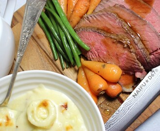 Beef Roast dinner with leeks in cheese sauce