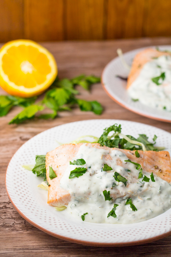 Roasted Salmon with Yogurt Caper Sauce